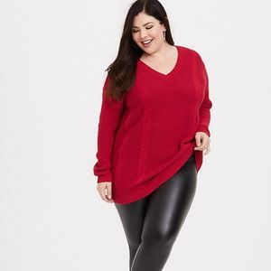 Torrid Red Cable Knit Chunky Tunic Sweater